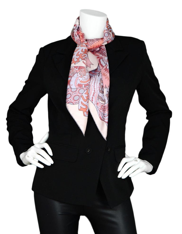 Gray Hermes Light Pink/Lavender/Burgundy Fleurs D'Indiennes 90cm Silk Scarf In Box For Sale