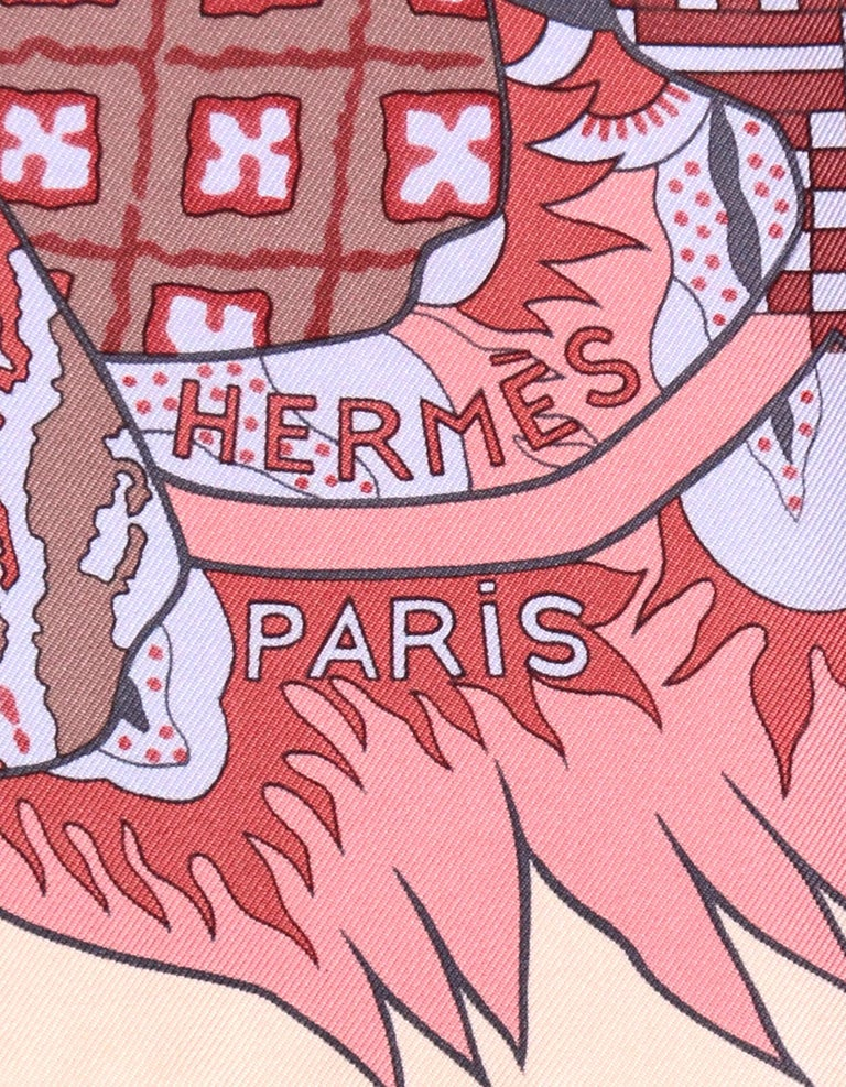 Hermes Light Pink/Lavender/Burgundy Fleurs D'Indiennes 90cm Silk Scarf In Box In Excellent Condition For Sale In New York, NY