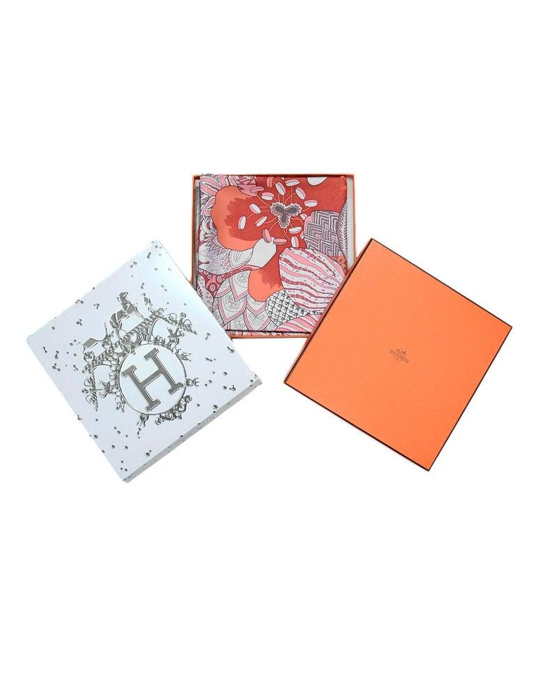 Hermes Light Pink/Lavender/Burgundy Fleurs D'Indiennes 90cm Silk Scarf In Box For Sale 1