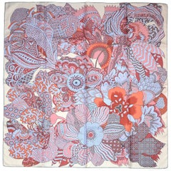 Hermes Light Pink/Lavender/Burgundy Fleurs D'Indiennes 90cm Silk Scarf In Box