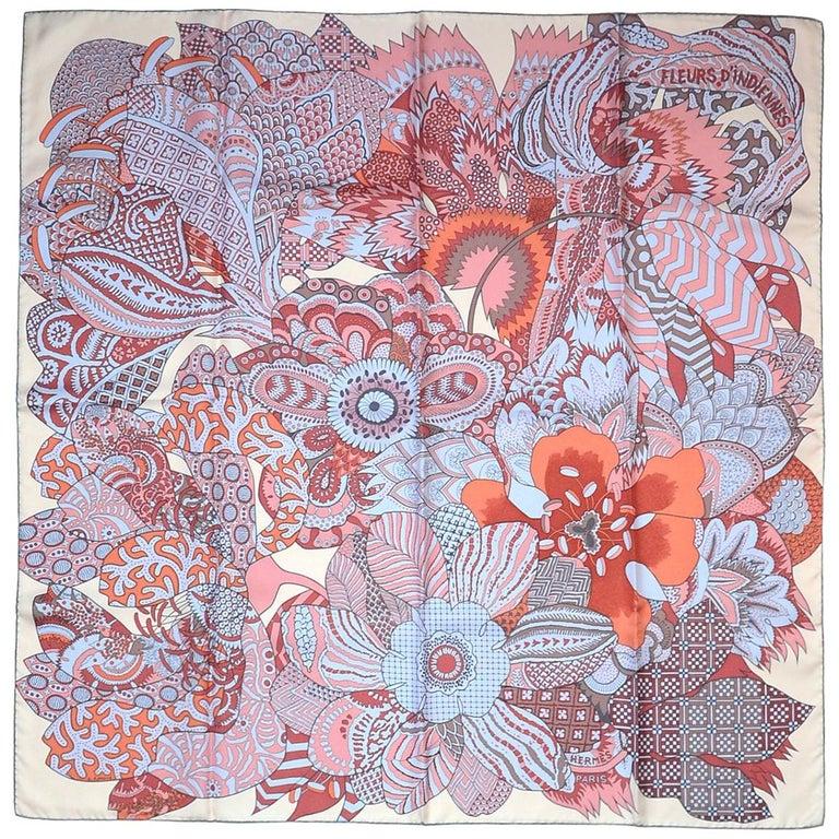 Hermes Light Pink/Lavender/Burgundy Fleurs D'Indiennes 90cm Silk Scarf In Box For Sale