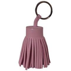 Hermes Light Pink Leather Carmen Tassel Keychain