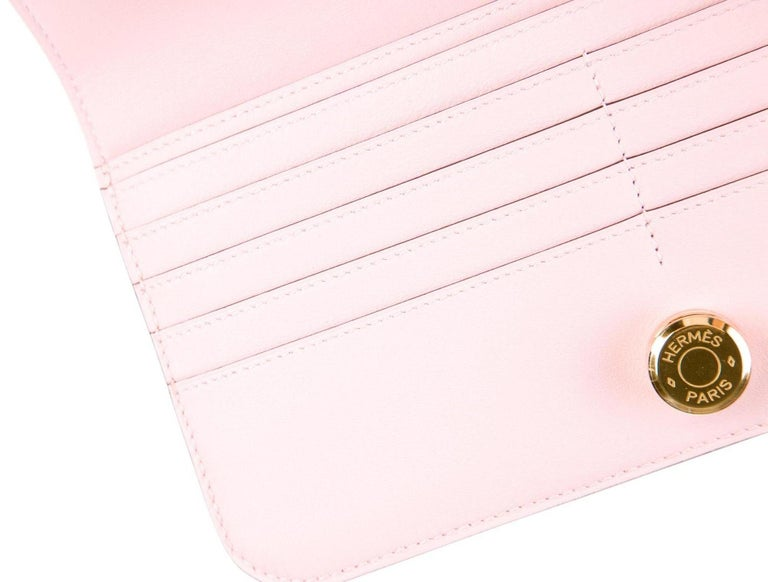 Women's Hermes Light Pink Leather Gold Envelope Evening Clutch Wallet in Box