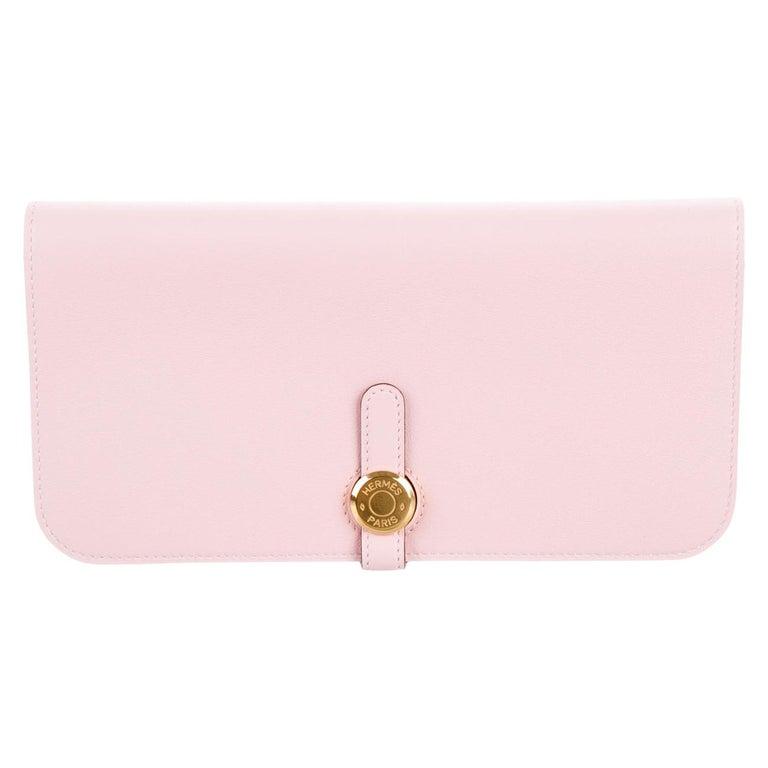 Hermes Light Pink Leather Gold Envelope Evening Clutch Wallet in Box