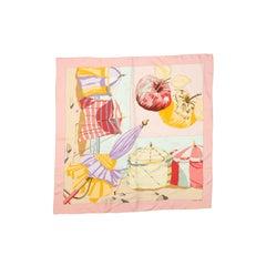 Hermes Light Pink & Multicolor Charmes des Plages Normande II Silk Scarf
