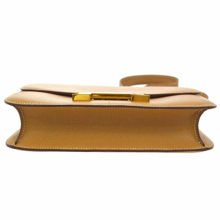 Brown Hermes Light Tan Nude Cognac Leather Gold 'H' Constance Shoulder Flap Bag For Sale
