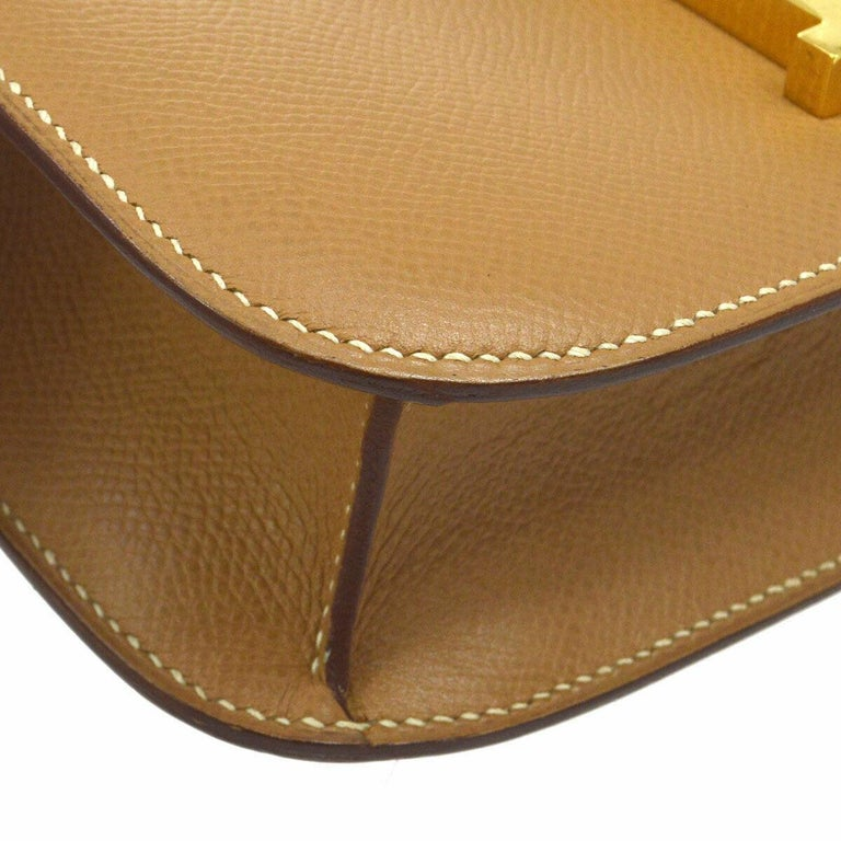 Hermes Light Tan Nude Cognac Leather Gold 'H' Constance Shoulder Flap Bag In Good Condition For Sale In Chicago, IL