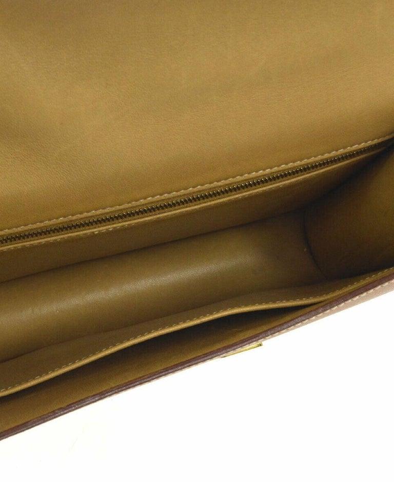 Hermes Light Tan Nude Cognac Leather Gold 'H' Constance Shoulder Flap Bag For Sale 1