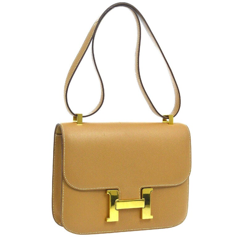 Hermes Light Tan Nude Cognac Leather Gold 'H' Constance Shoulder Flap Bag For Sale