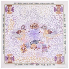 HERMES lilac & grey RENCONTRE OCEANE 90 silk twill Scarf