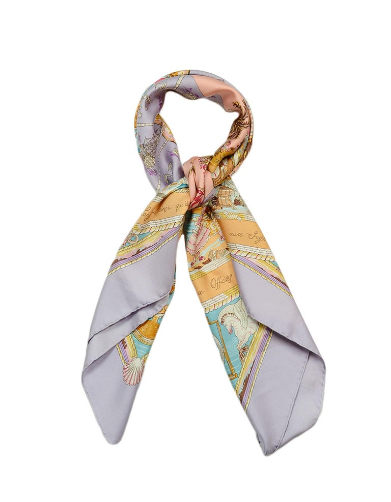 Hermes Lilac Multi-color Pastel Per Astra ad Astra 90cm Silk Scarf In Excellent Condition For Sale In New York, NY
