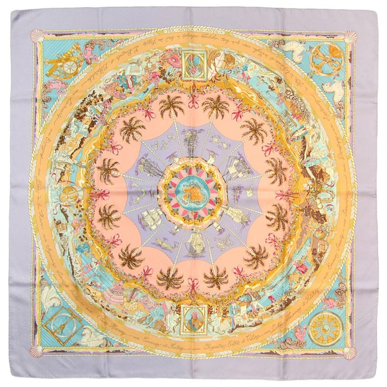 Hermes Lilac Multi-color Pastel Per Astra ad Astra 90cm Silk Scarf For Sale