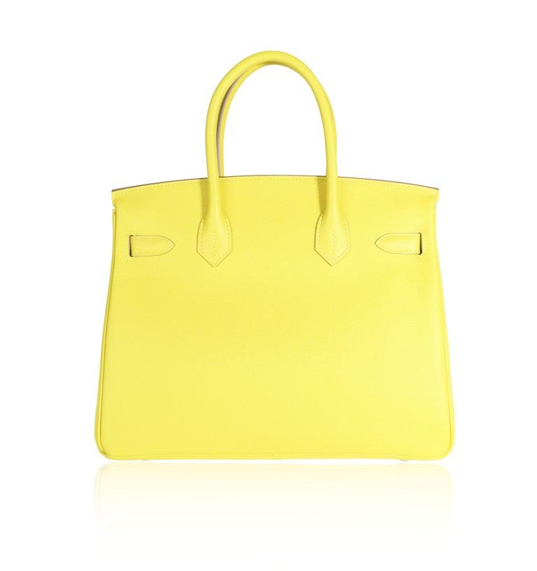 Yellow Hermès Lime Epsom Birkin 30 PHW