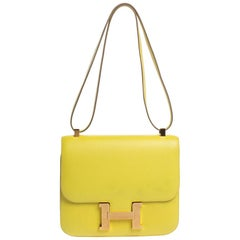 Hermes Lime Evercolor Leather Constance 24 Bag