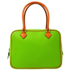 Hermes Lime Green Orange Leather Small Gold Evening Top Handle Satchel Bag