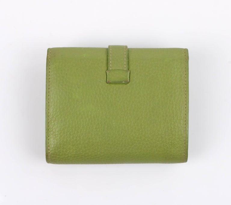 Vintage Hermes lime green pebbled leather