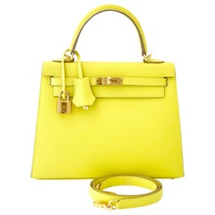 Hermès Lime Kelly 25  Epsom Sellier Gold  Hardware Bag