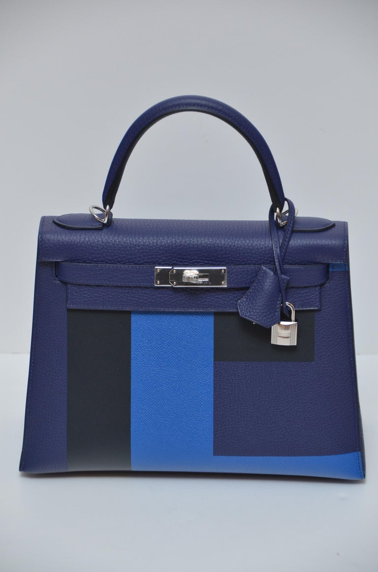 Hermes Kelly 28 CM limited edition. 3 different colors . Clemence/Box/Epsom leather Bleu Encre/Bleu Obscure/Bleu Zellege /Vert and Cypress interior. Letter E ,stands for everything. Brand new never used with full set . Original receipt available to