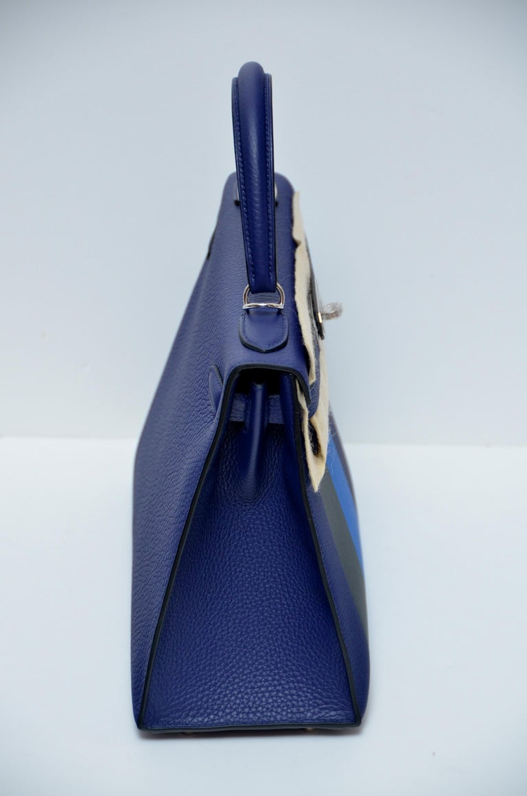 Hermes Limited Edit. Kelly Lettre Sellier 28CM  Black  Encre/Obscur/Zellige NEW  In New Condition For Sale In Hollywood, FL