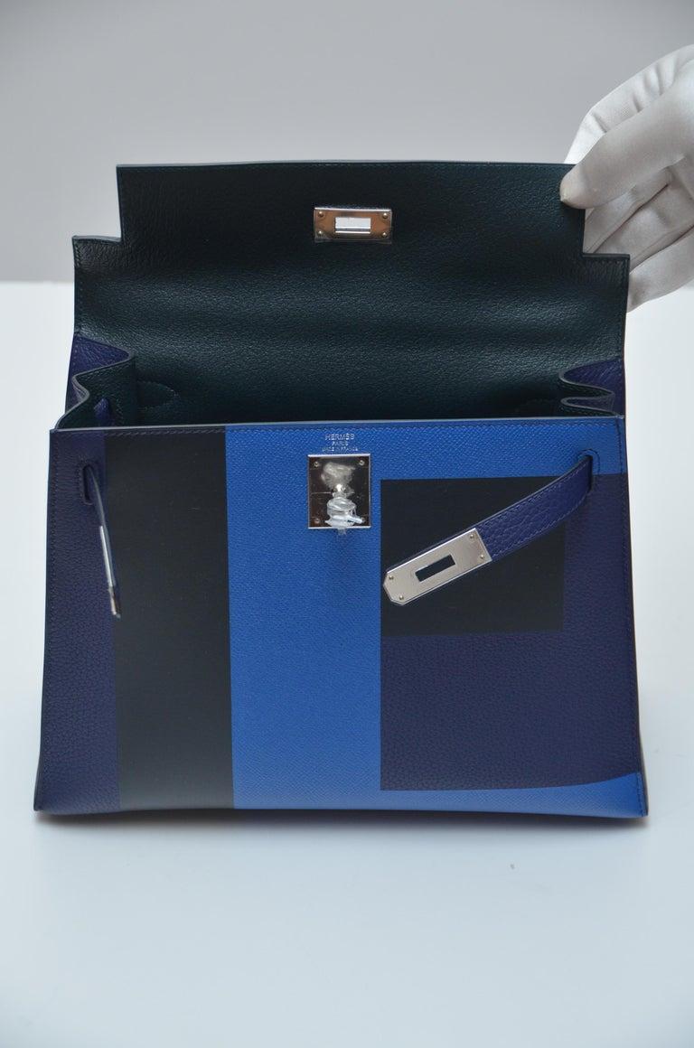 Hermes Limited Edit. Kelly Lettre Sellier 28CM  Black  Encre/Obscur/Zellige NEW  For Sale 1