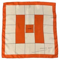 HERMES Limited Edition 2001 White & Orange Silk Scarf