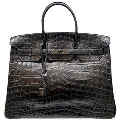 Hermes Limited Edition 35cm Matte So Black Nilo Crocodile Birkin,2010