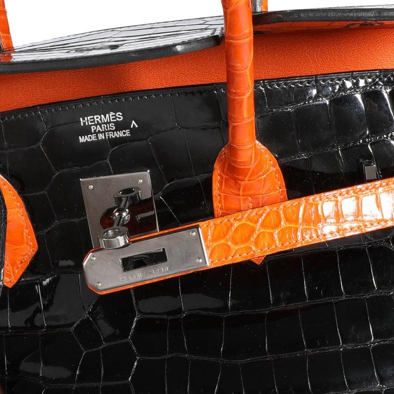 Hermès Limited Edition Black & Orange Shiny Porosus Crocodile Birkin 35 PHW SKU: 110762  Handbag Condition: Very Good Condition Comments: Very Good Condition. Light marks to exterior skin. Scratching to hardware. Pen mark on interior.  Brand:
