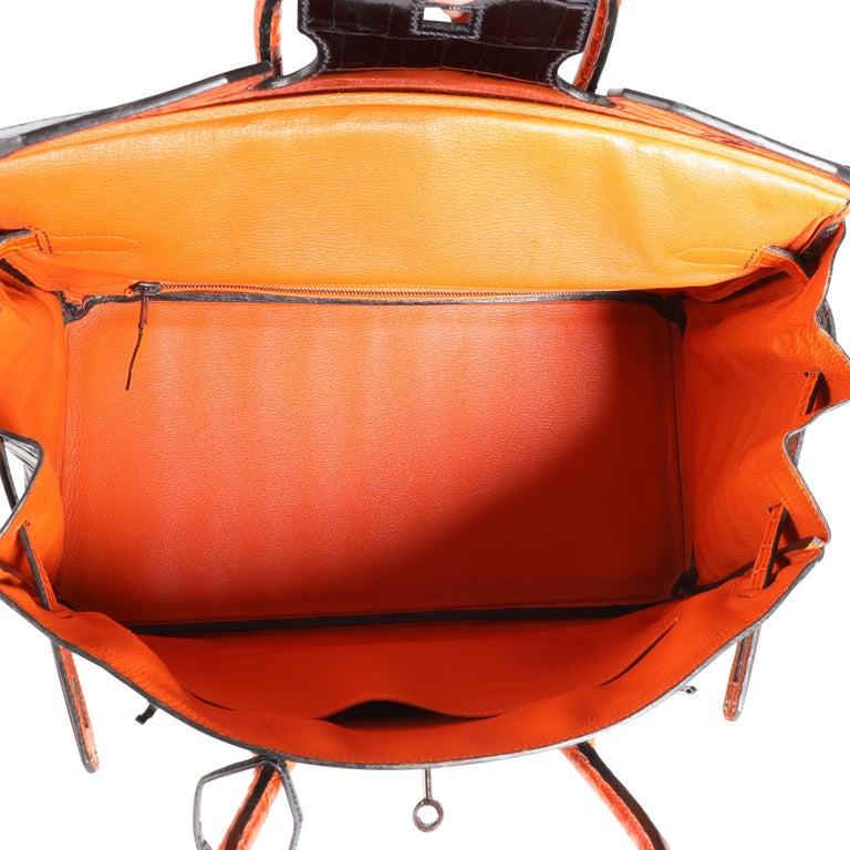 Hermès Limited Edition Black & Orange Shiny Porosus Crocodile Birkin 35 PHW In Good Condition For Sale In New York, NY