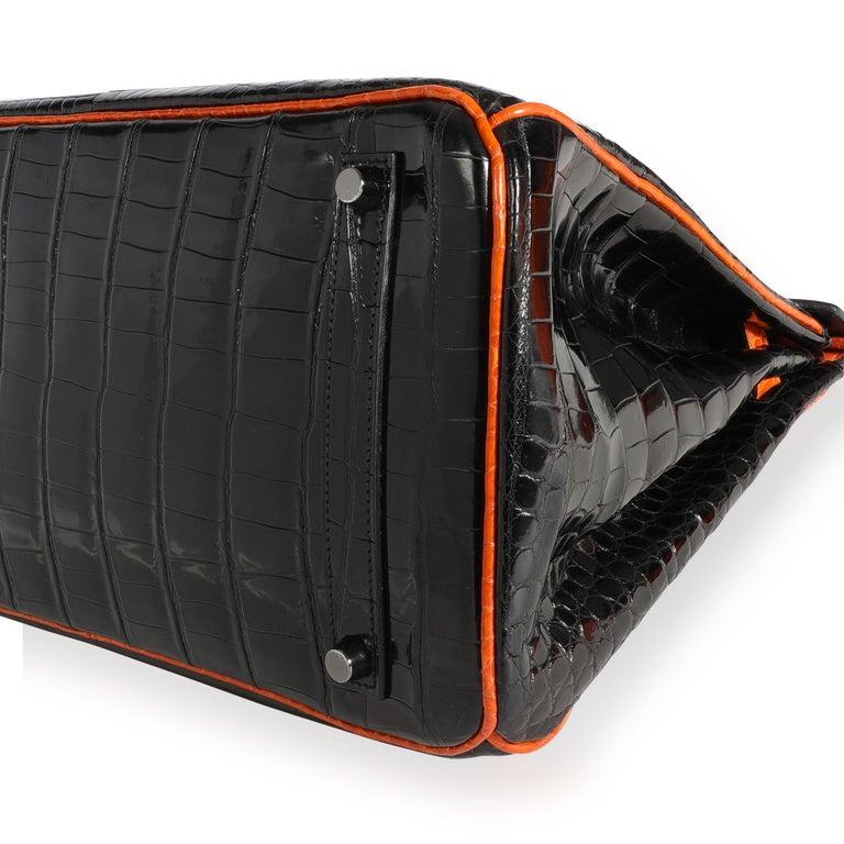 Women's Hermès Limited Edition Black & Orange Shiny Porosus Crocodile Birkin 35 PHW For Sale