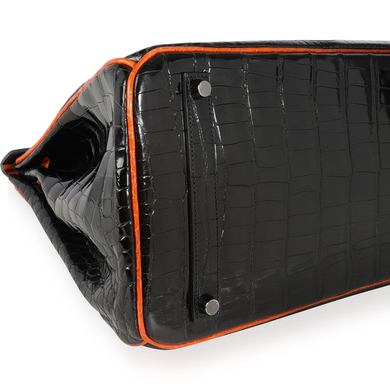 Hermès Limited Edition Black & Orange Shiny Porosus Crocodile Birkin 35 PHW For Sale 1