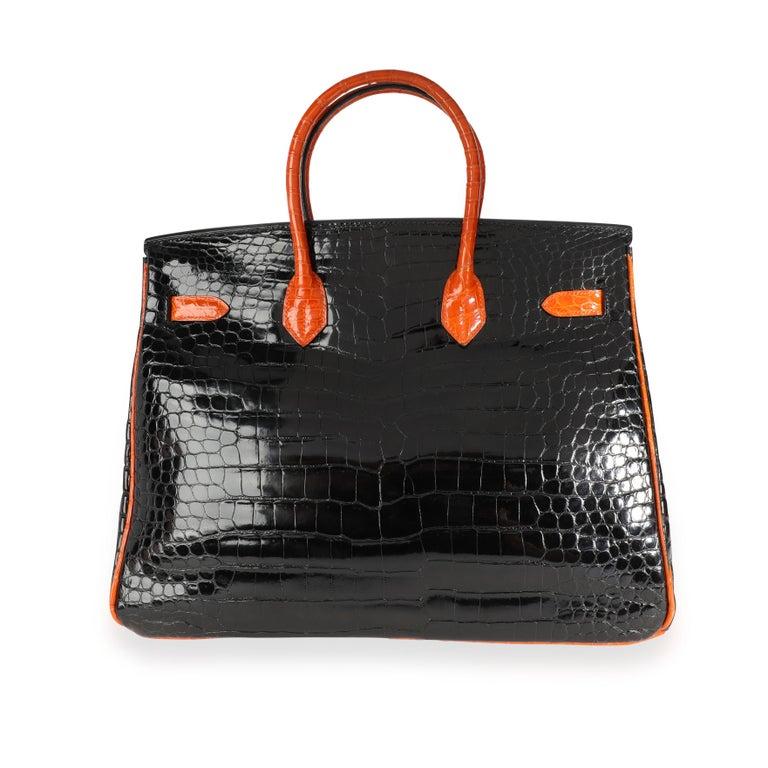 Hermès Limited Edition Black & Orange Shiny Porosus Crocodile Birkin 35 PHW For Sale 2
