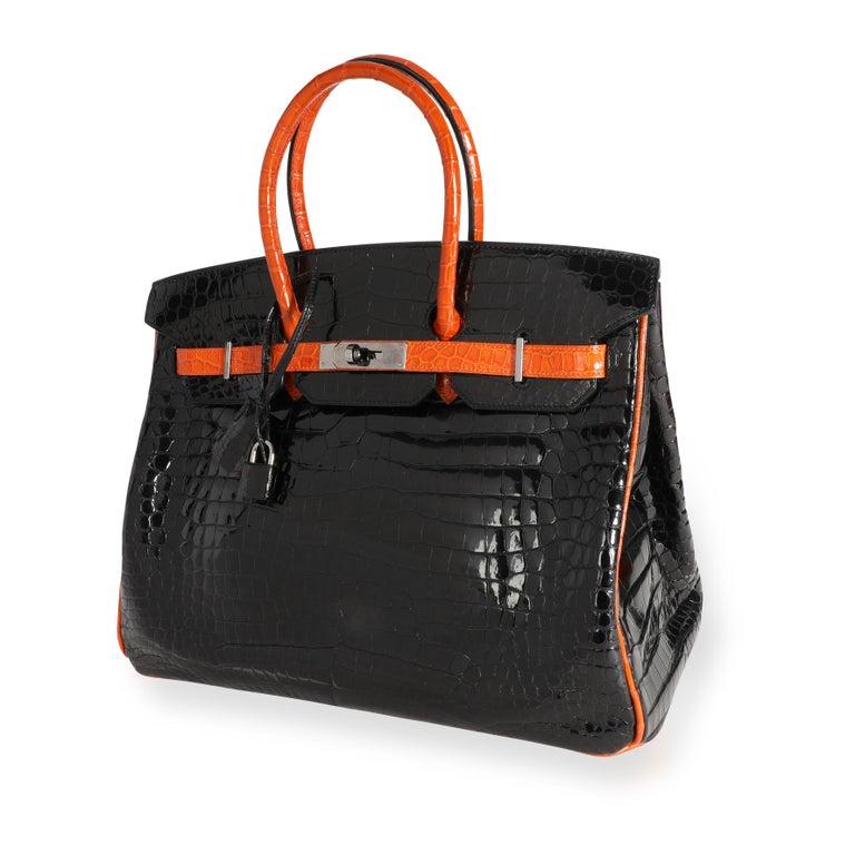 Hermès Limited Edition Black & Orange Shiny Porosus Crocodile Birkin 35 PHW For Sale 4