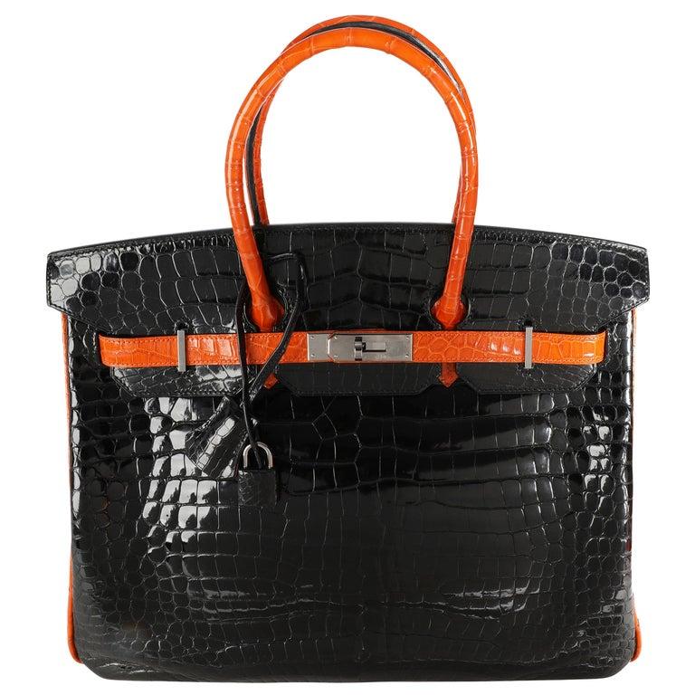 Hermès Limited Edition Black & Orange Shiny Porosus Crocodile Birkin 35 PHW For Sale