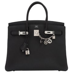 Hermes Limited Edition Black Verso 35cm Birkin Blue Agate VIP NEW