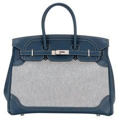 Hermès Limited Edition Bleu de Prusse Swift 35 Birkin Bag
