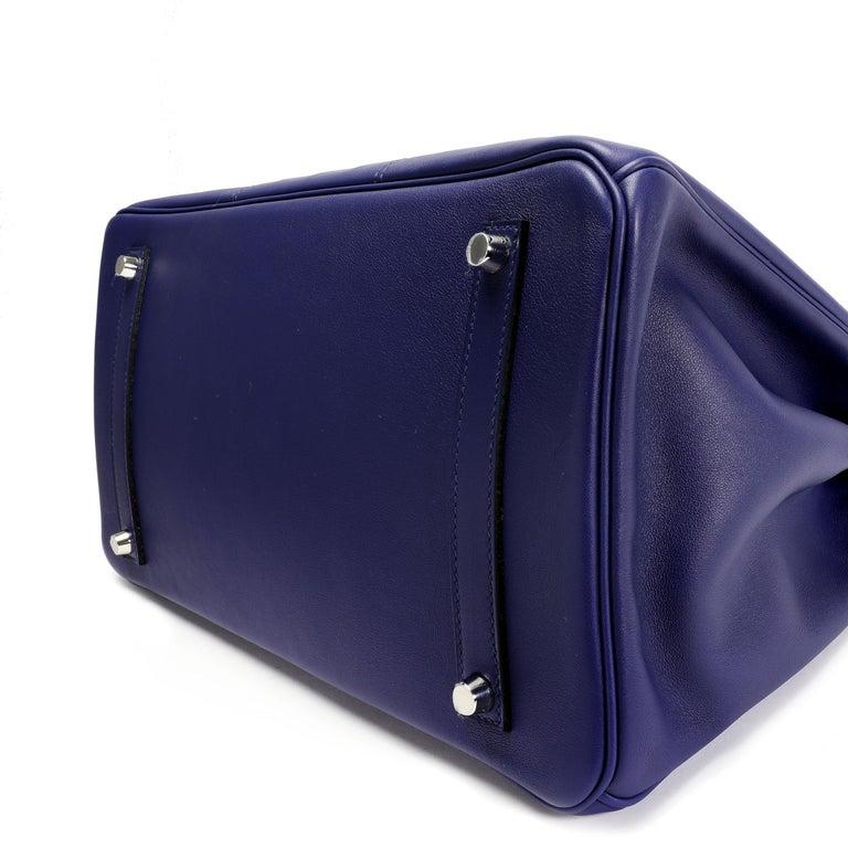 Purple Hermès Limited Edition Bleu Encre Swift & Epsom Tressage Birkin 35 with PHW For Sale