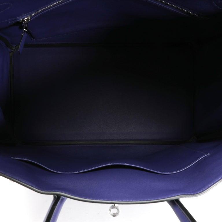 Women's Hermès Limited Edition Bleu Encre Swift & Epsom Tressage Birkin 35 with PHW For Sale