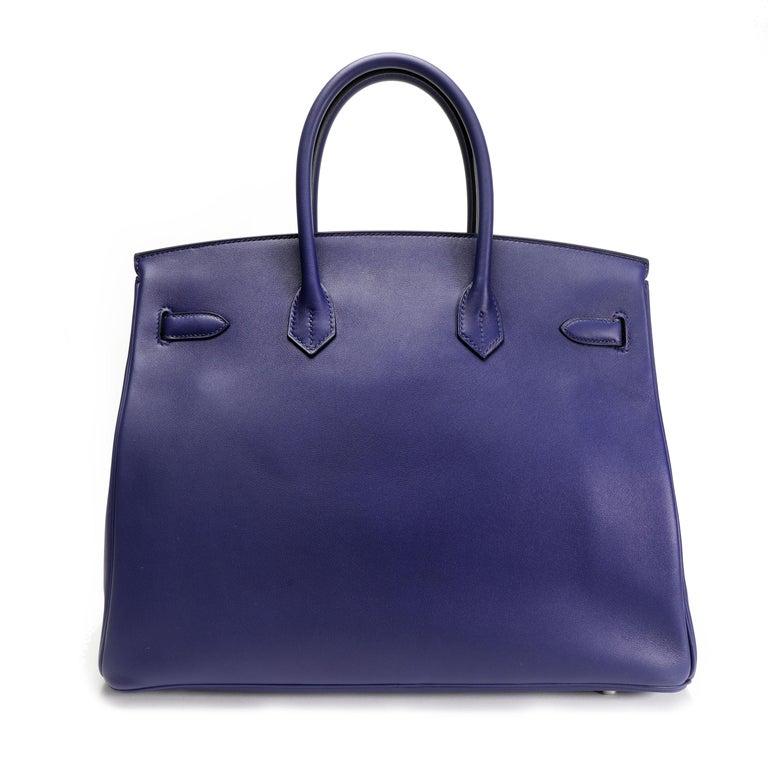 Hermès Limited Edition Bleu Encre Swift & Epsom Tressage Birkin 35 with PHW For Sale 1