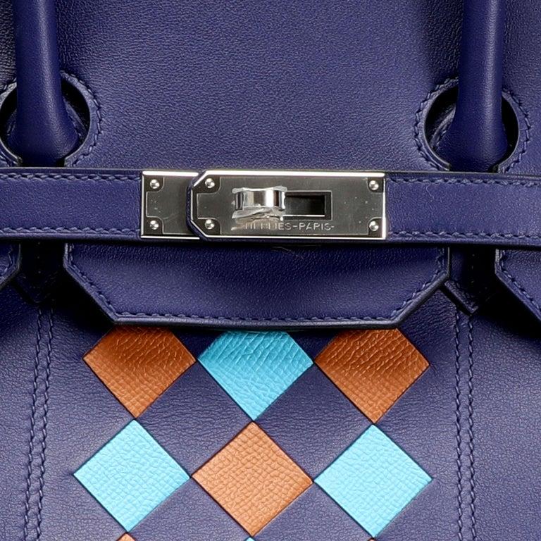 Hermès Limited Edition Bleu Encre Swift & Epsom Tressage Birkin 35 with PHW For Sale 3