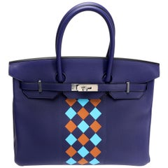 Hermès Limited Edition Bleu Encre Swift & Epsom Tressage Birkin 35 with PHW
