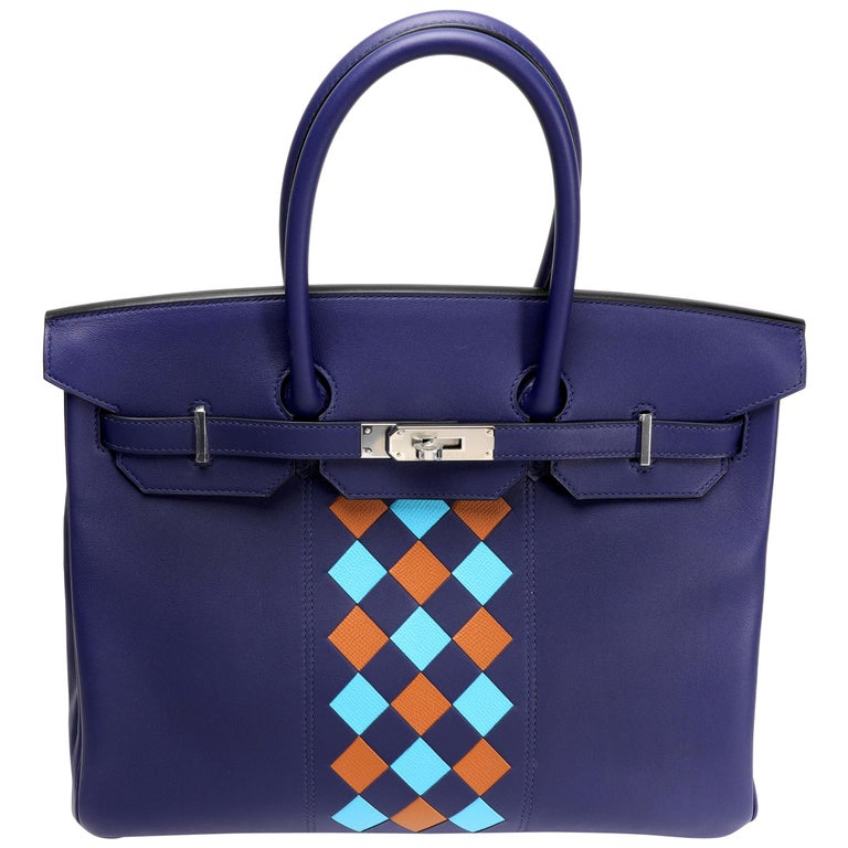 Hermès Limited Edition Bleu Encre Swift & Epsom Tressage Birkin 35 with PHW For Sale