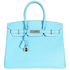 Hermès Limited Edition Celeste & Mykonos Epsom Candy Birkin 35 PHW