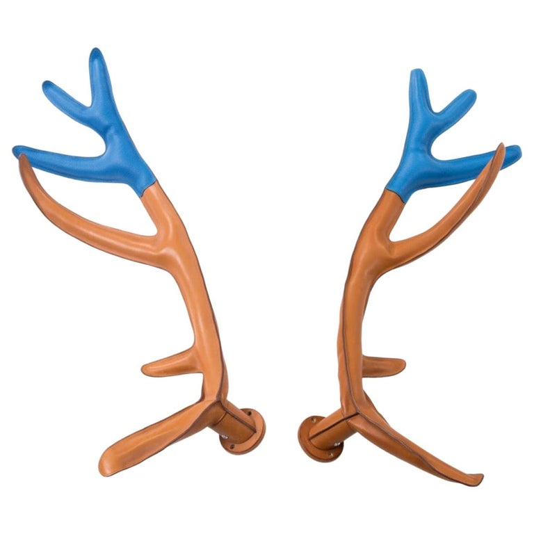 Hermes Limited Edition Cognac Blue Leather Wall Mount Decor Deer Antlers in Box For Sale