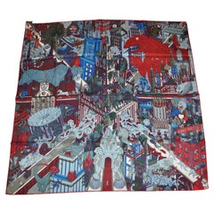 """Hermes """"Limited Edition"""" """"Invasion Of Creatures On Metro"""" Silk Jacquard Scarf"""