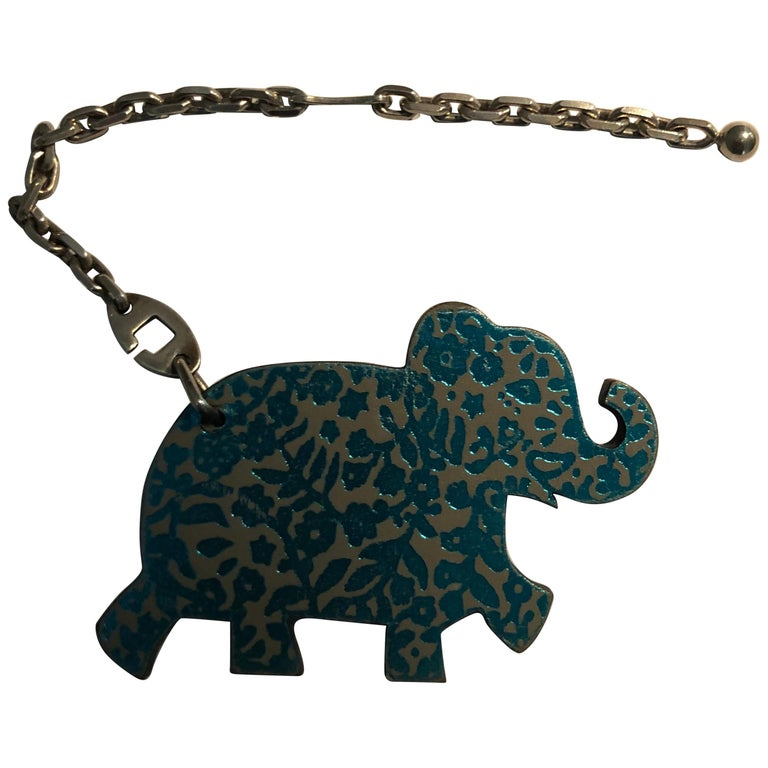 Hermes Limited Edition Leather Haati Elephant Bag Charm w/Box For Sale