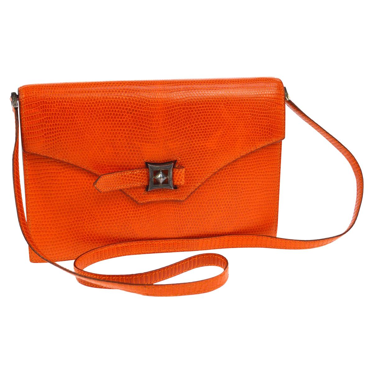 Hermes Limited Edition Lizard Leather Envelope Evening Clutch Shoulder Flap Bag