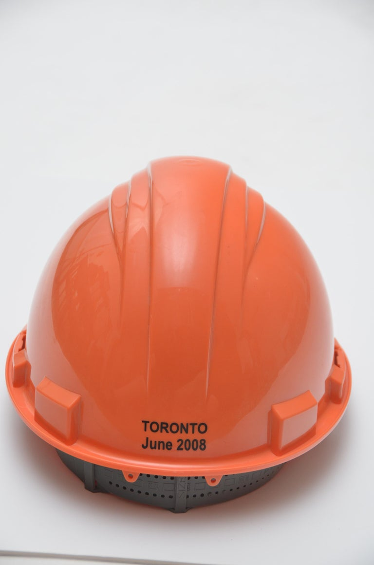 Hermes Limited Edition Orange Construction Helmet Hat Toronto, 2008 Mint In Excellent Condition For Sale In Hollywood, FL