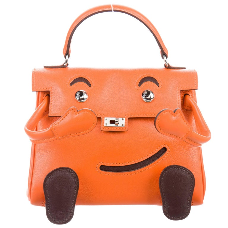 Hermes Limited Edition Orange Leather Smiley Mini Top Handle Satchel Bag