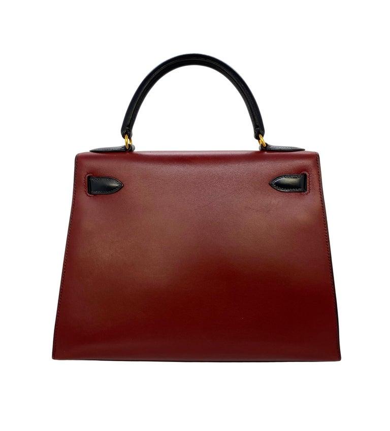Women's or Men's Hermès Limited Edition Vintage Tri-Color Box Calf Kelly Handbag 28, 1993. For Sale
