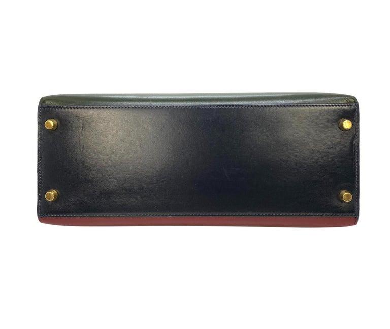 Hermès Limited Edition Vintage Tri-Color Box Calf Kelly Handbag 28, 1993. For Sale 1